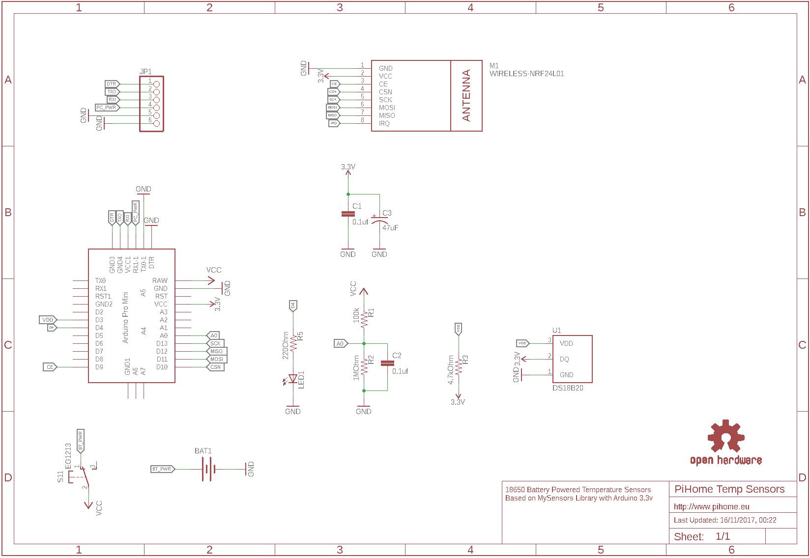 Battery Powered Arduino DS18B20 Temperature Sensor - PiHome