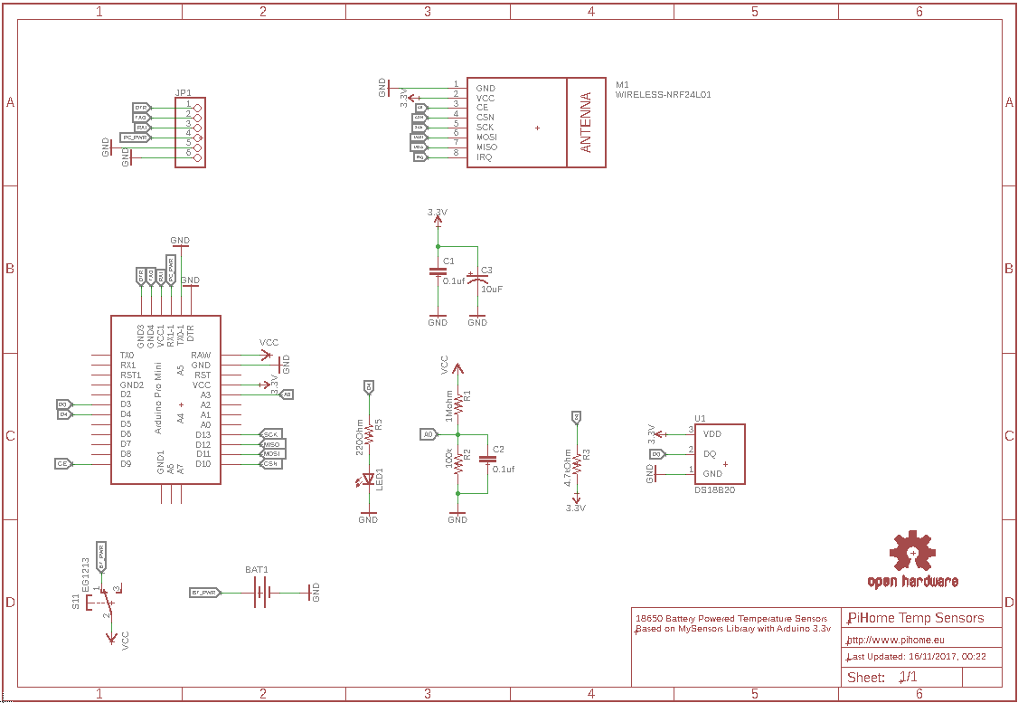 18650 Battery powered Temperature Sensors Schematic