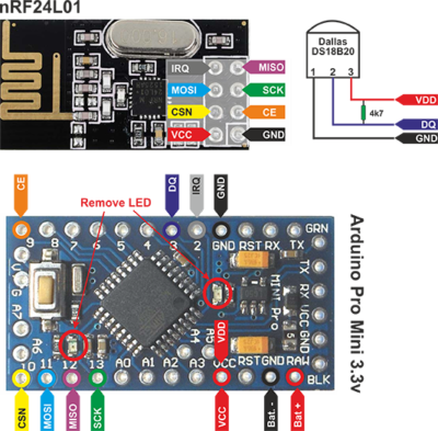 DS18B20 with Arduino and nRF24L01