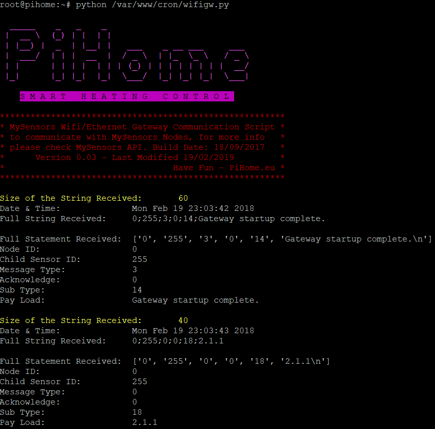 PiHome WiFi Gateway Startingup