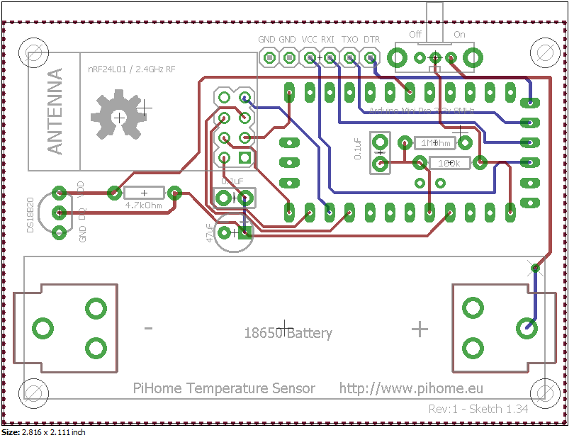 Battery powered DS18B20 1-Wire digital temperature sensor Schematic