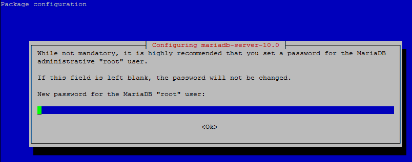 MariaDB Server on Raspberry Pi set password Administrative root user.