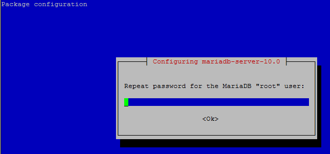 MariaDB Server on Raspberry Pi confirm password Administrative root user.