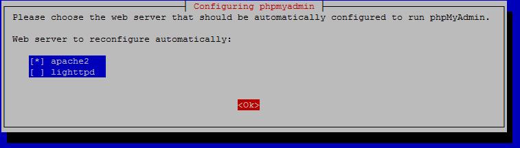 PhpMyAdmin Raspberry Pi apache2 or lighttpd option