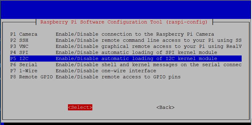 PiHome Enable i2c interface on Raspberry pi Config Menu Interface