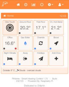 PiHome Smart Heating Dashboard version 1.7