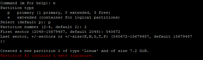 Partition contains a ext4 signature message
