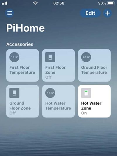 PiHome Heating Zone iOS HomeKit