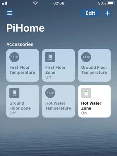 PiHome Heating Zone iOS HomeKit